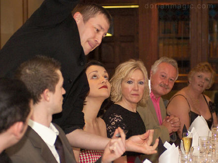 Magician Dorian at Staff Awards party at the Copthorne Hotel Cardiff.