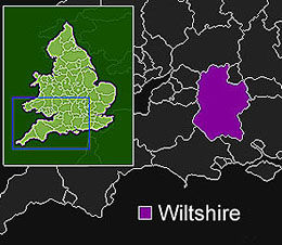 Map of areas in Wiltshire that magician conjurer Dorain covers