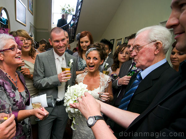 Drinks reception at a wedding in Brecon, Wales.