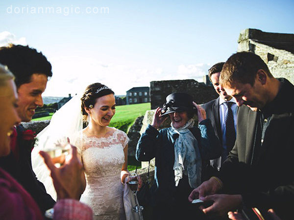 Dorian entertaining the Bride and Groom at Pendennis Castle, Falmouth.