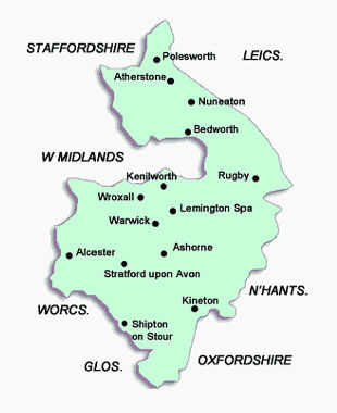 Warwickshire map of areas covered by magician Dorian
