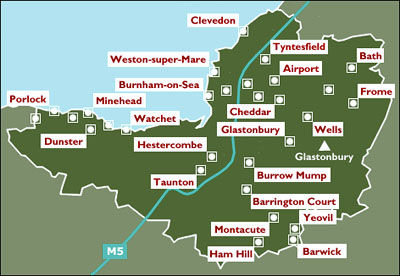 Map of Somerset areas that magician Dorian covers
