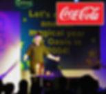 Dorian performing at presentation for Coca Cola