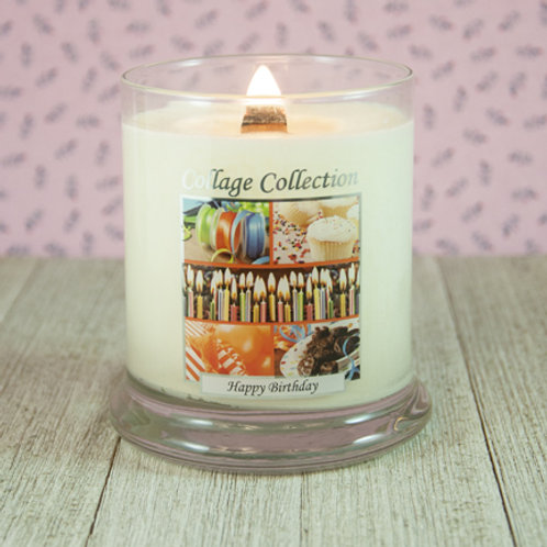 Happy Birthday Collage Candle