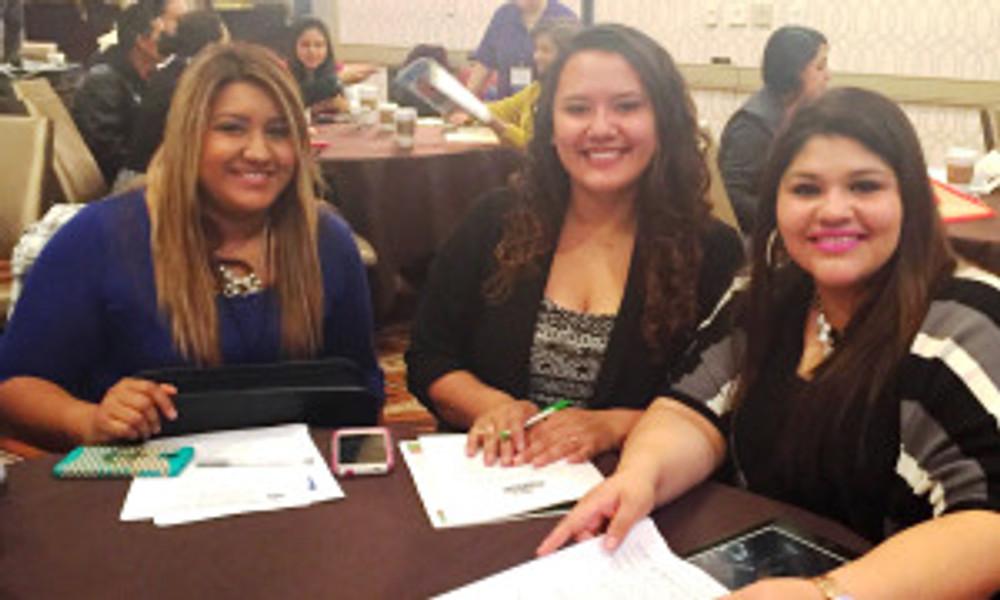Policy Council members Jimina and Cristina with ECMHSP Governance staff Maria.