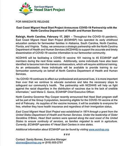 ECMHSP and NCDHHS Partnership Press Rele