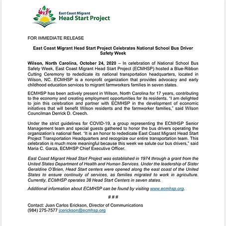 ECMHSP Celebrates National School Bus Dr
