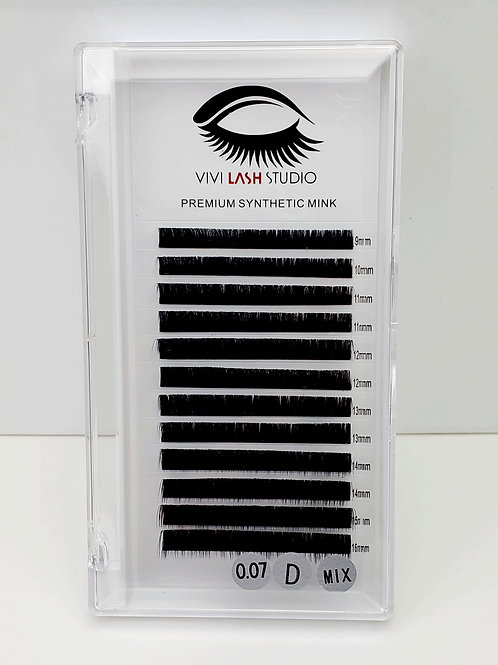 Mixed Eyelashes Tray 0.07, 0.15, 0.20 Curl D 9mm-16mm (High Quality)