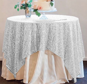 Silver Sequin Table Overlay