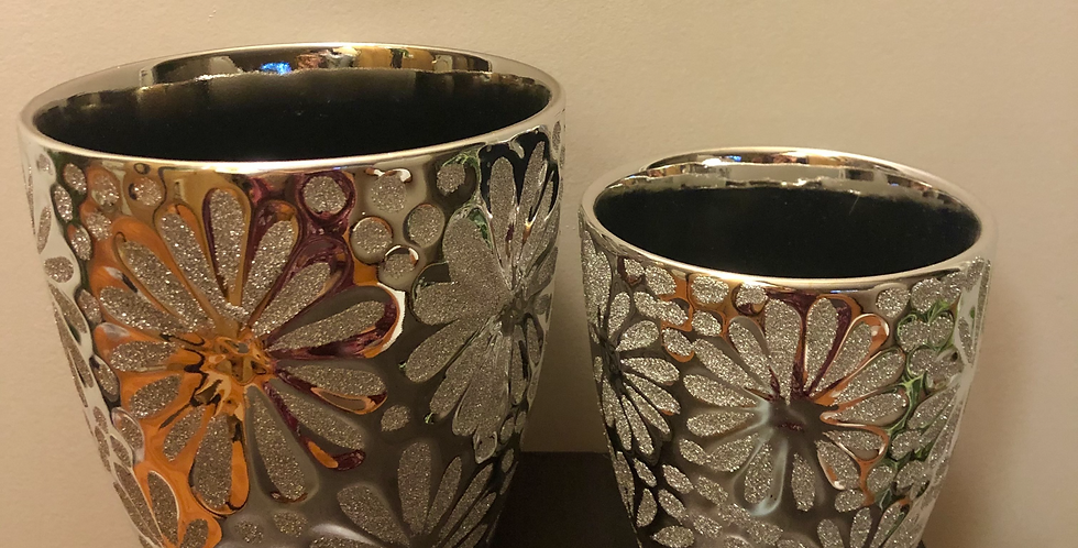 Silver Glitter Pot