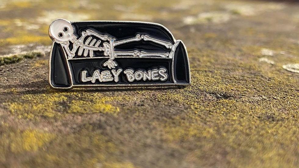 Lazy Bones Enamel Pin   Skeleton