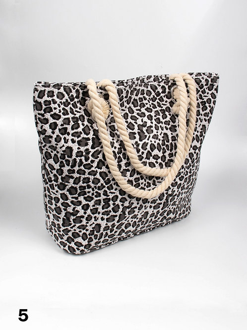 Leopard Print Canvas Tote Bag
