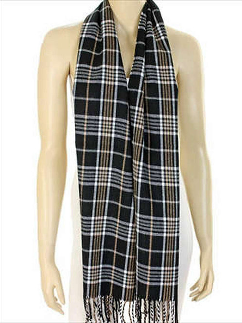 Black and Beige Plaid Scarf