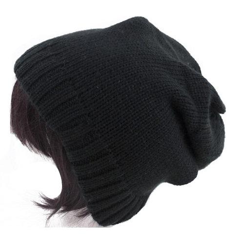 BLACK UNISEX SLOUCHY HAT
