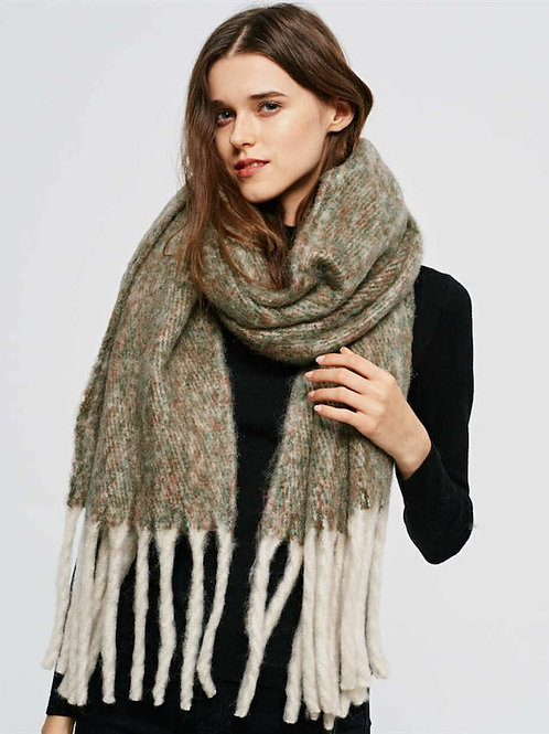 Warm and Fuzzy Olive Winter Scarf