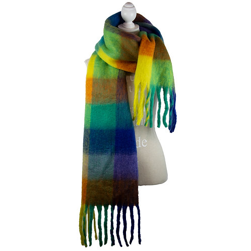BRIGHT TONES PLAID SOFT OVERSIZED WINTER SCARF
