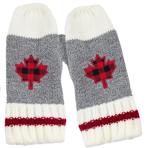 WORK WINTER MITTENS WITH EMBROIDERED LEAF