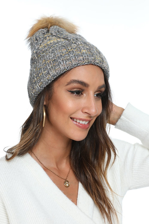 Grey and Mustard Toque with Pompom