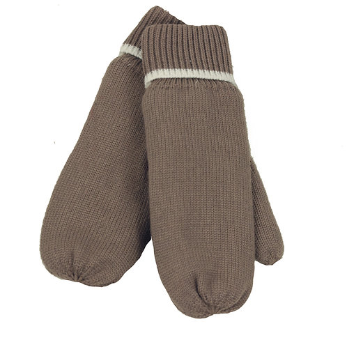 LADIES TAUPE KNIT MITTENS