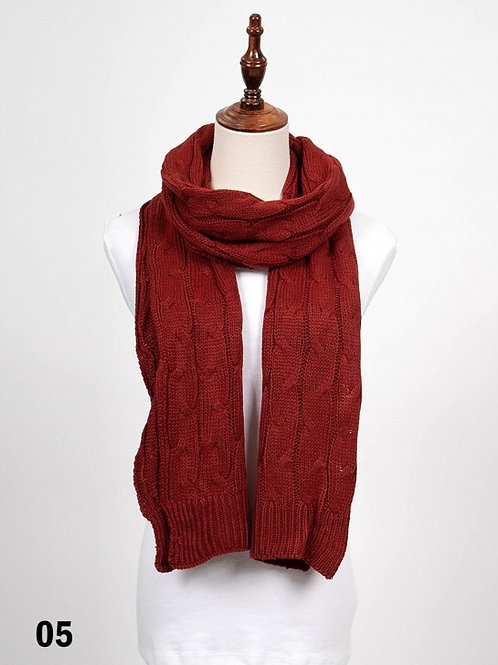 Red Long Rib Knitted Scarf