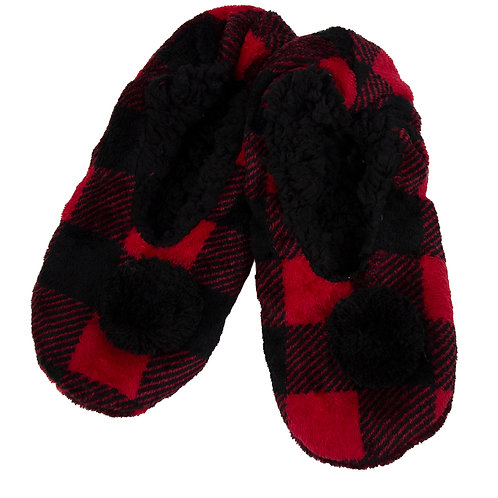 LADIES BUFFALO CHECK SLIPPERS WITH POMPOMS