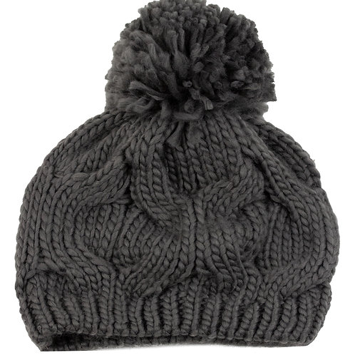 CHARCOAL SLOUCHY WINTER TOQUE WITH POMPOM