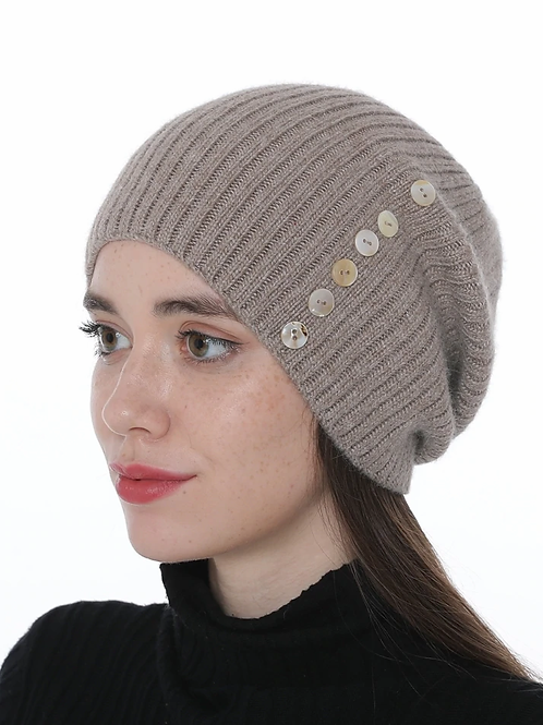 Ribbed Cashmere Beanie with Buttons in beige