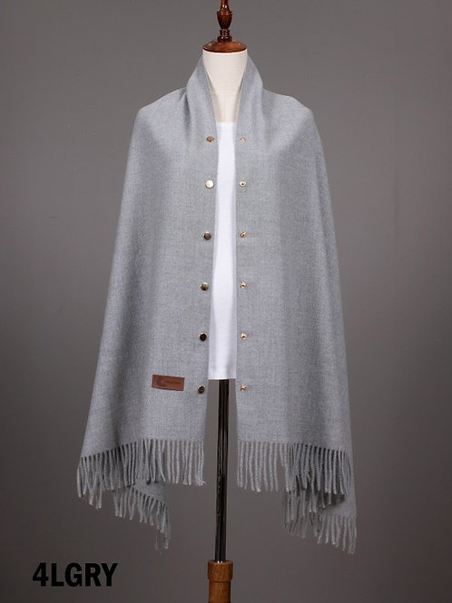 Grey Cashmere Feeling Shawl w/ Openable Button Details