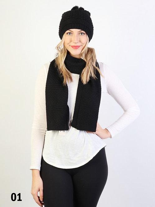 Fashion Knitted Set W/ (Scarf, Hat)
