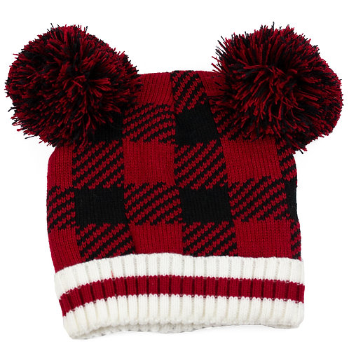 KIDS BUFFALO CHECK WINTER TOQUE WITH DOUBLE POMPOMS
