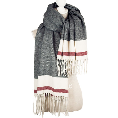 OVERSIZED MIX MGREY SCRAF WITH TASSELS