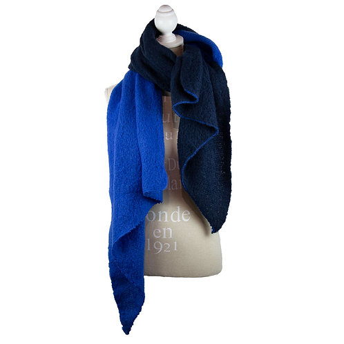 Navy and Blue Oversized Winter Scarf