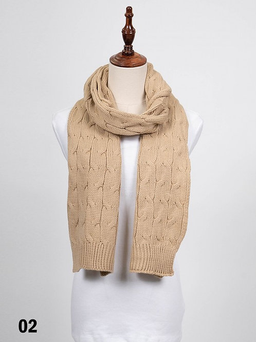 Taupe Long Rib Knitted Scarf