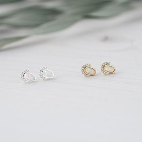 Madame Studs with White Opal