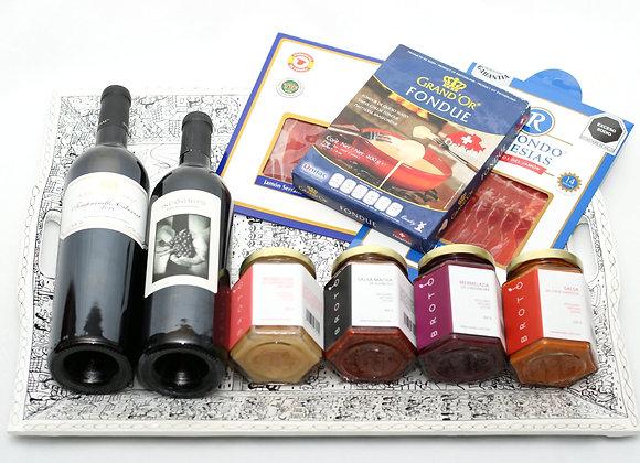 Set de regalo con tabla de madera en color blanco, Vino Incógnito