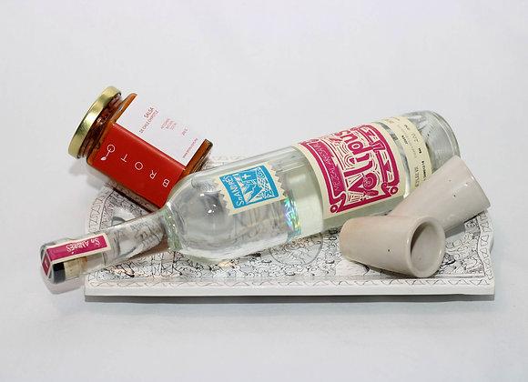Set de regalo con Mezcal Alipus, 2 caballitos, charola blanca y salsa chipotle