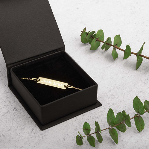 Savage Queen Engraved Silver Bar Chain Bracelet