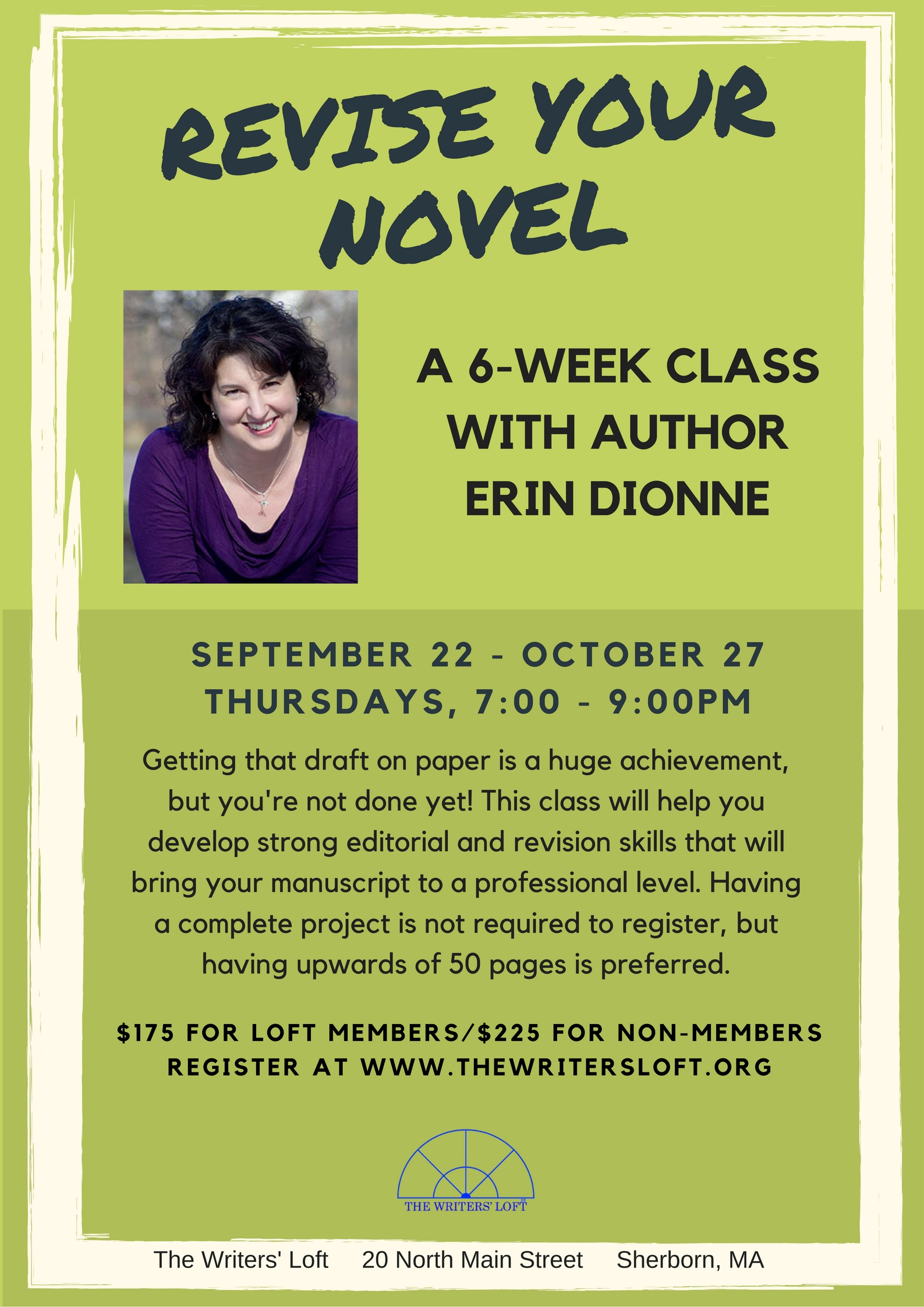 2016-09 Dionne Revise Your Novel Flyer