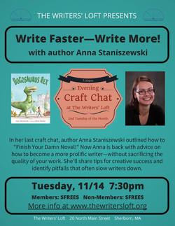Write More Fast Craft Chat with Anna Staniszewski