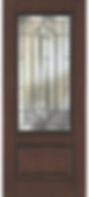 Fiberglass door with glass insert