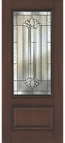 Fiberglass door with glass insert