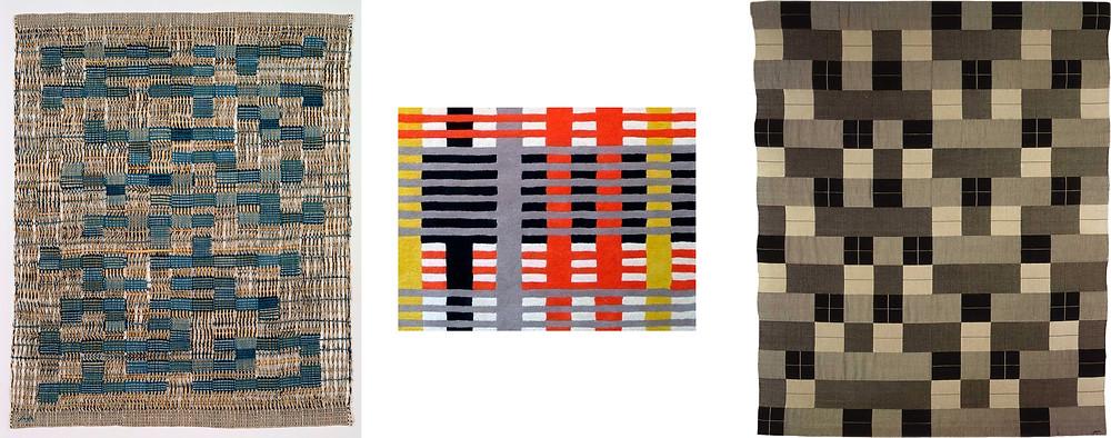 Varios ejemplos de arte textíl de Anni Albers