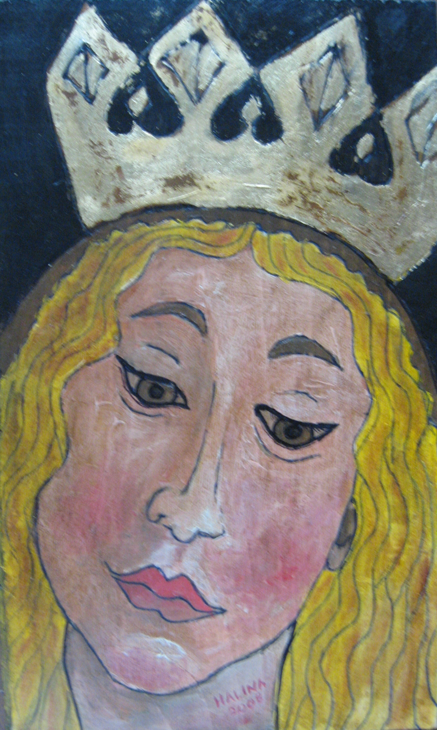 Our Lady with Crown -- Acrylic on wood.JPG