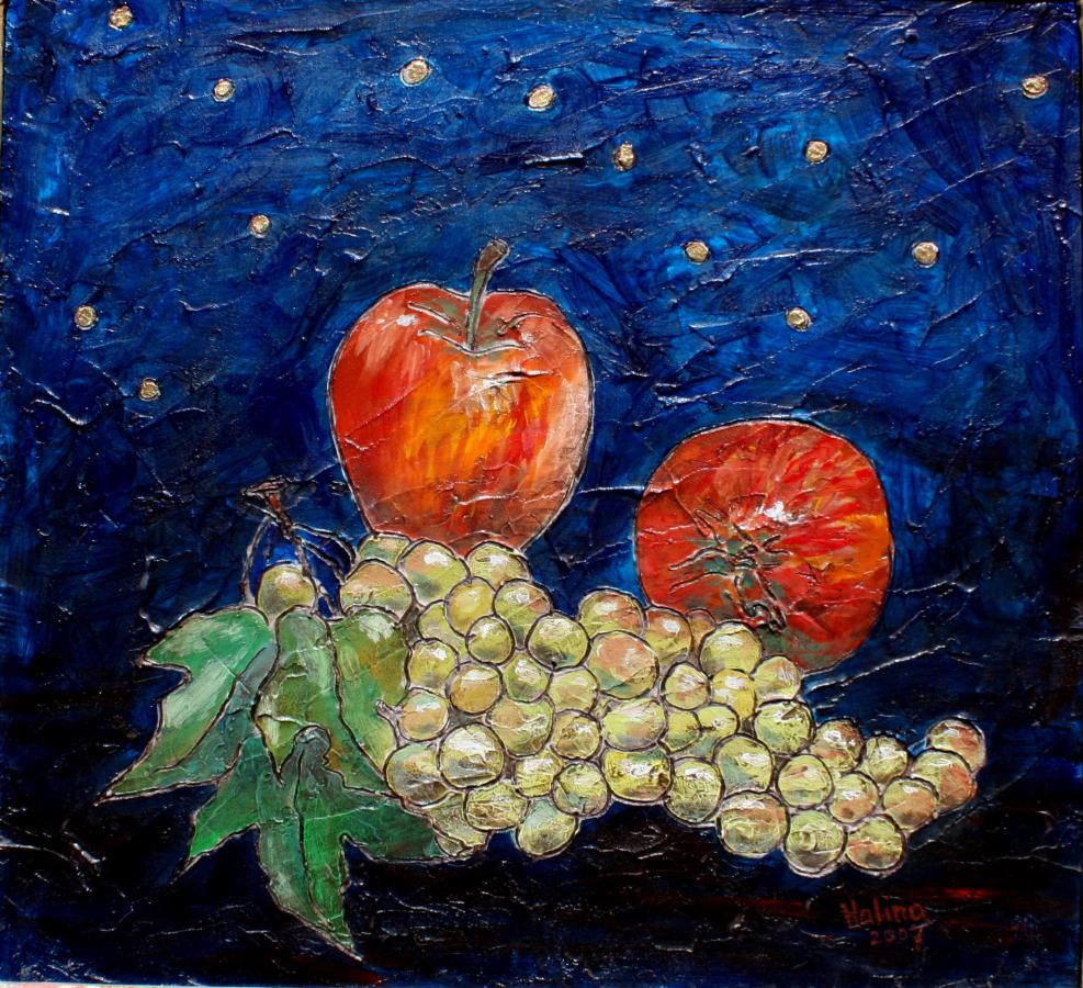 Grapes & Apples 43X58cm.JPG