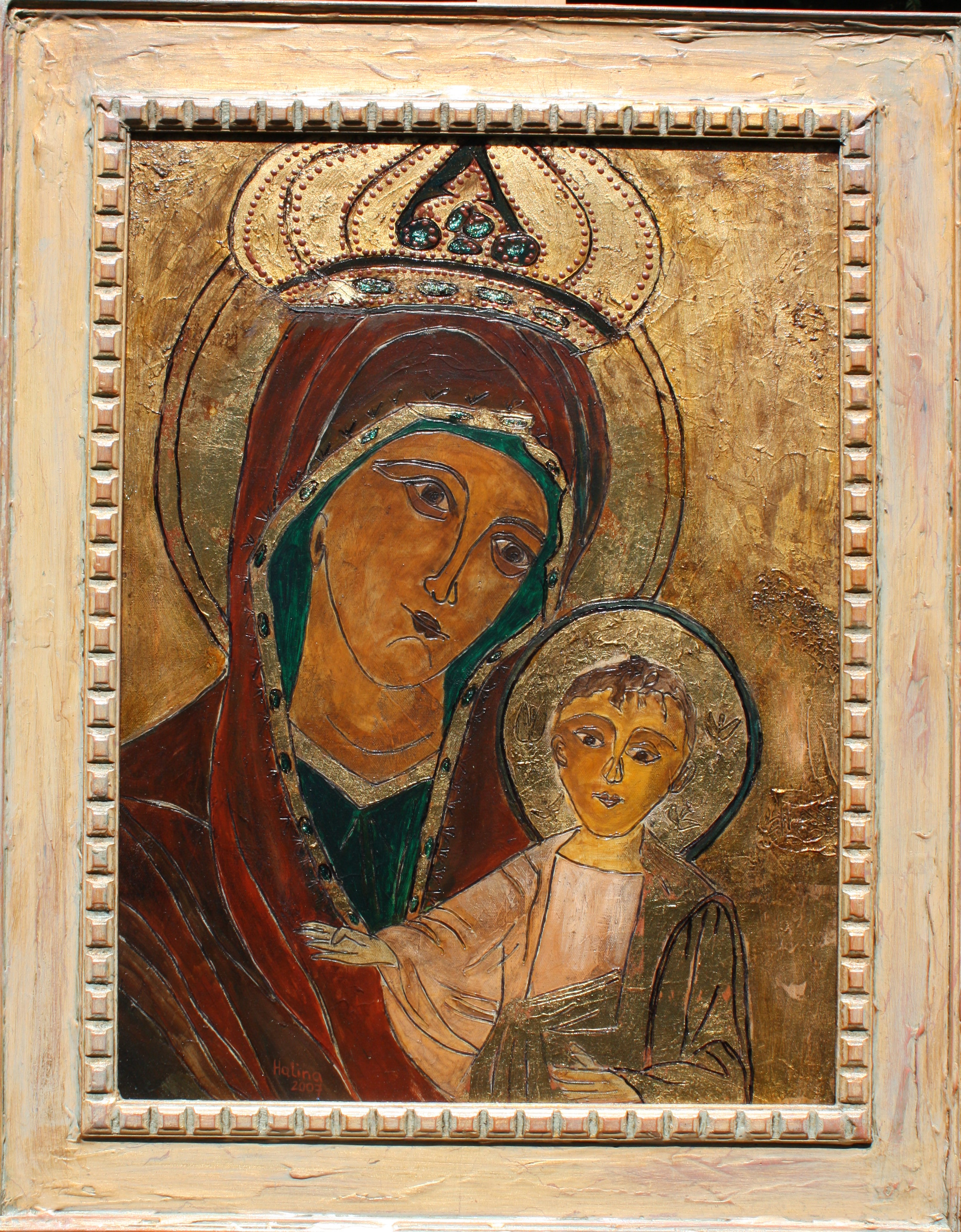 Our Lady of  Czestochowa - Framed.. Gesso, acrylic, gold leaf.JPG