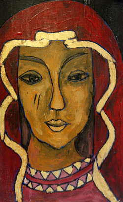 Our Lady Red -- Acrylic on wood.JPG