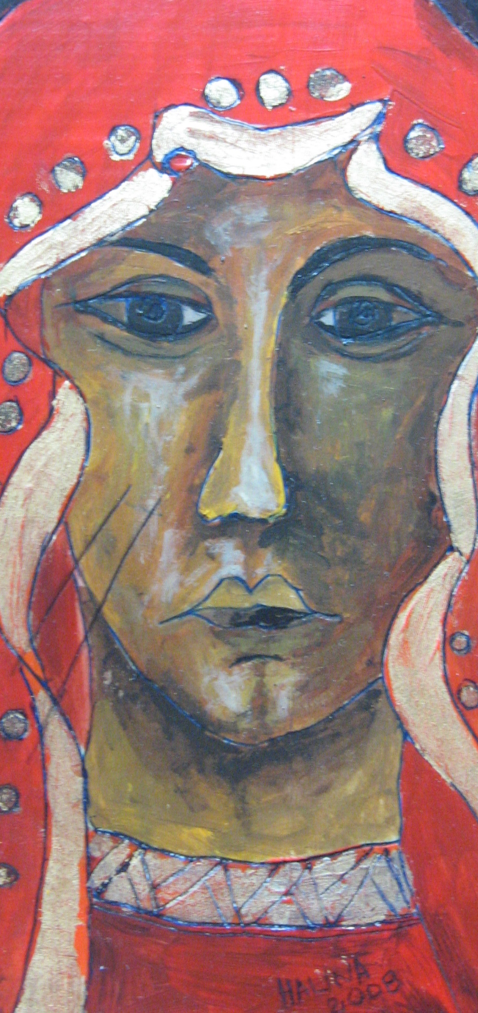 Our Lady in Red  Acylic on wood.JPG