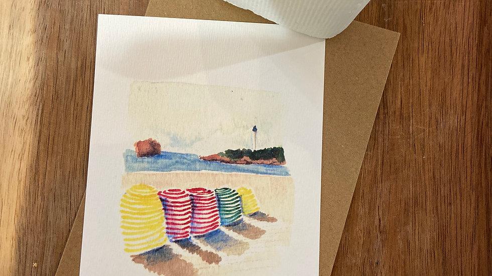 Carte Postale Aquarelle Biarritz et Bayonne