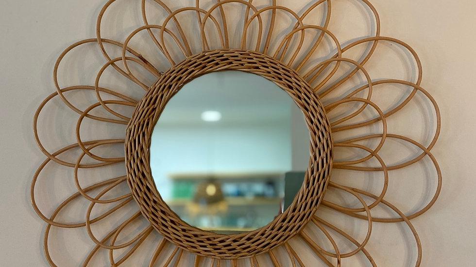 Miroir Fleur Rotin