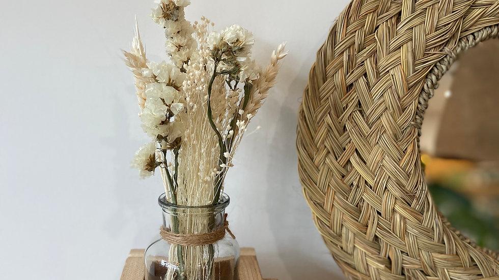 Pot Bois et Verre avec Fleurs Séchées